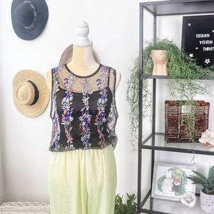 Tops - Sheer blouse with embroidered flowers